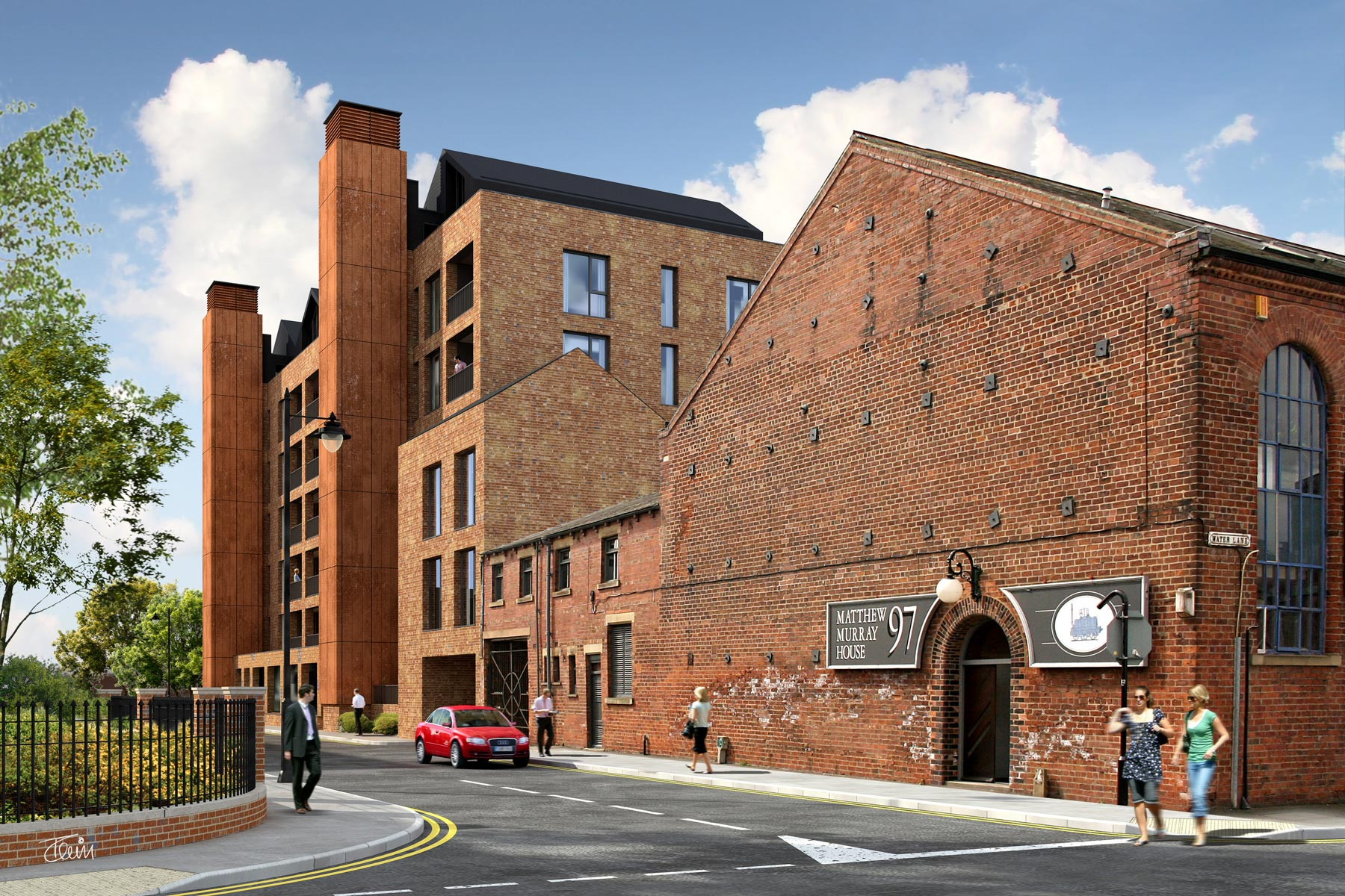 A new red brick building containing 53 apartments and featuring two 'chimneys', designed to hide the building's lift shafts and ventilation.